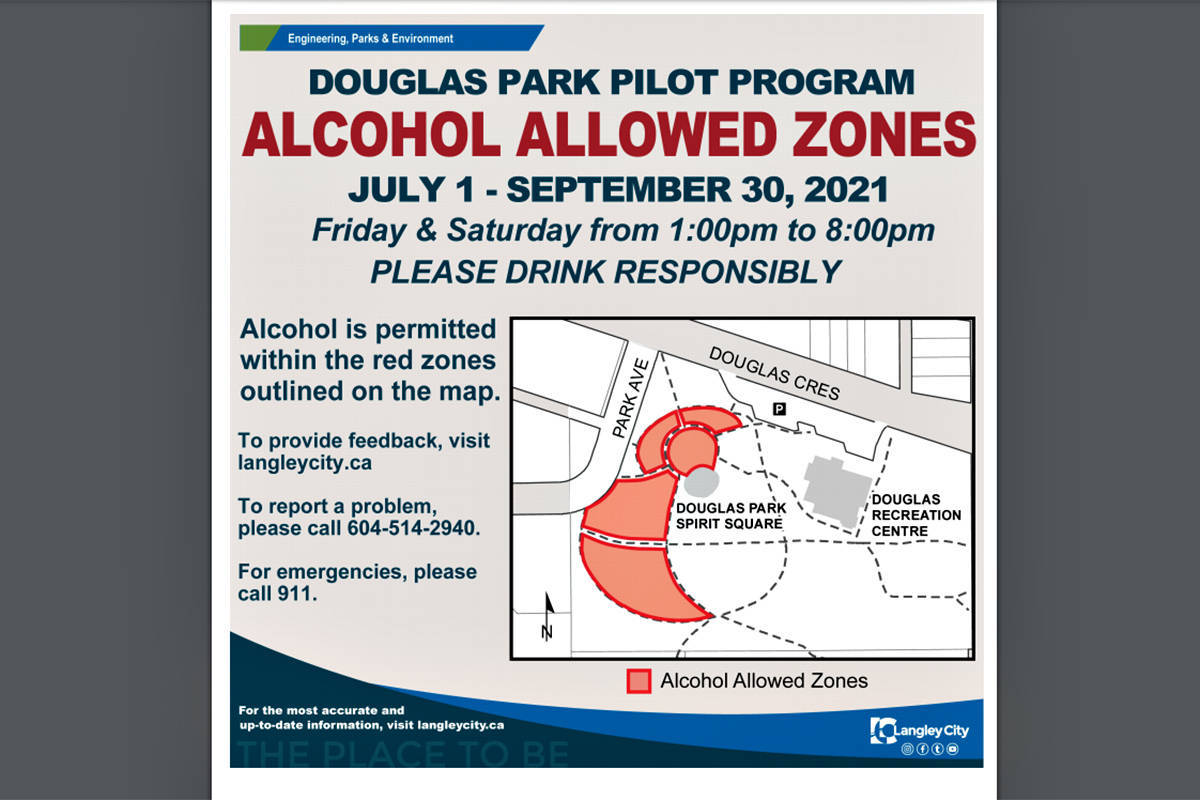 Signs would show exactly where outdoor drinking is permitted in Langley City under a pilot program given preliminary approval by council on Monday, May 31. (file)