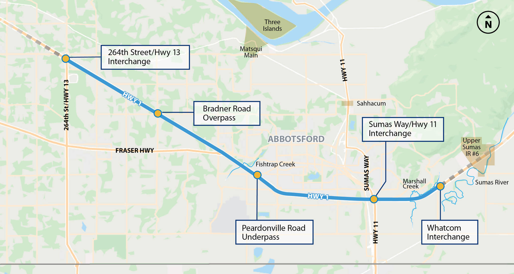 A map of the Trans Canada Highway between 264th Street in Langley to Whatcom Road in Abbotsford. (B.C. government)