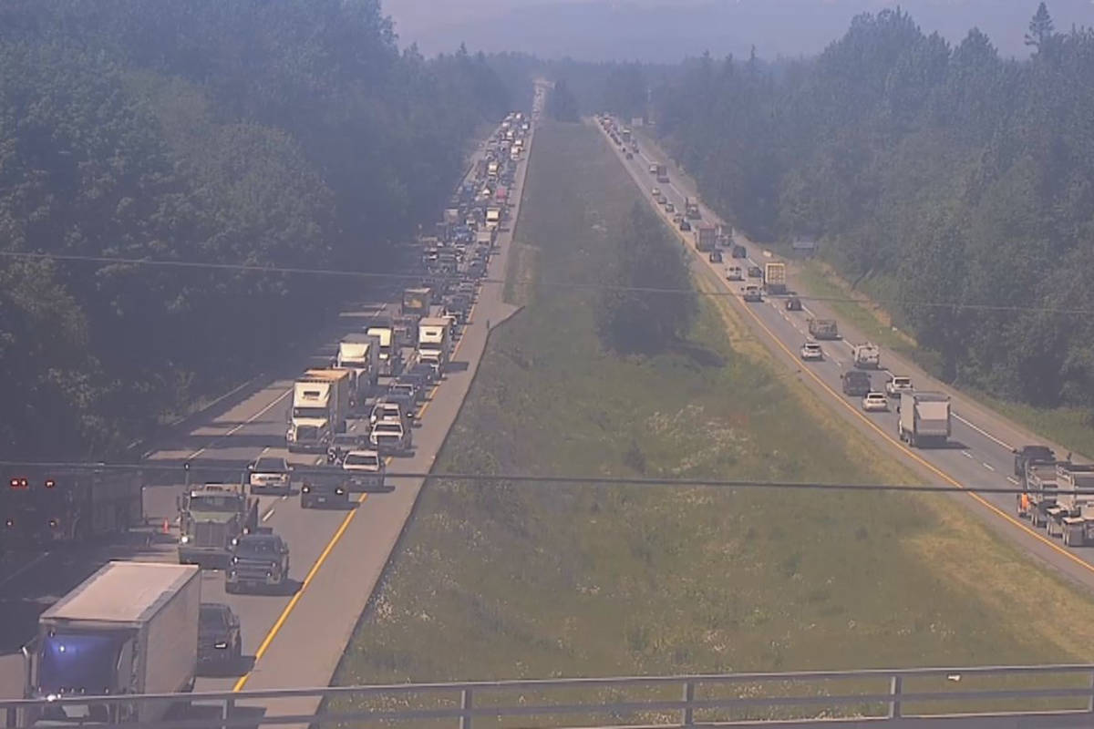 A vehicle fire at 248th Street in Langley on Tuesday, June 1, 2020 is causing a significant delays eastbound on the Trans Canada Highway. (Drive BC)