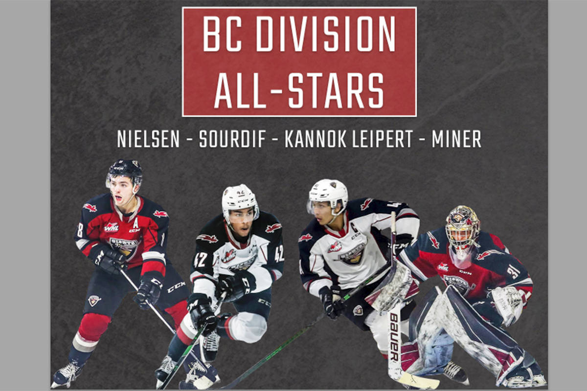 Four players from the Langley-based Vancouver Giants have been named to the WHL B.C. Division all-star team (Special to Langley Advance Times)