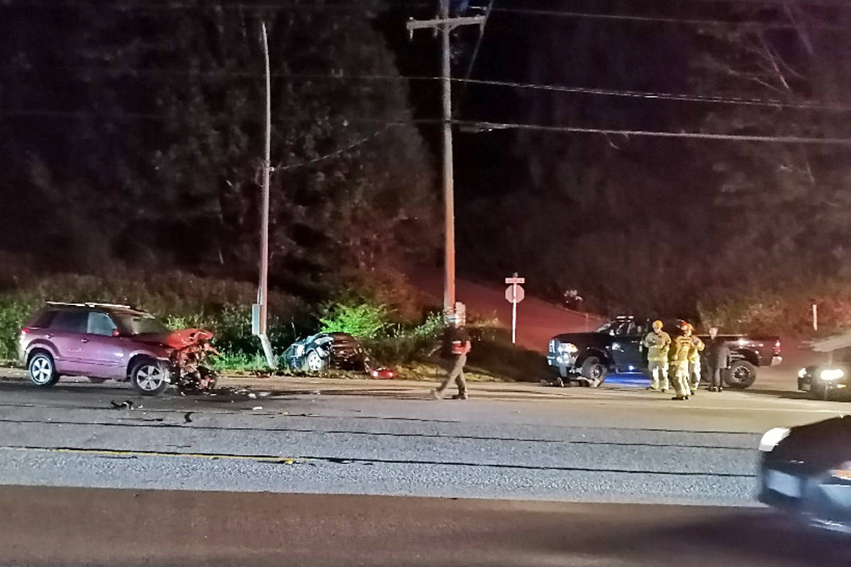 A head-on collision sent two drivers to hospital on Friday night. (Special to The News)