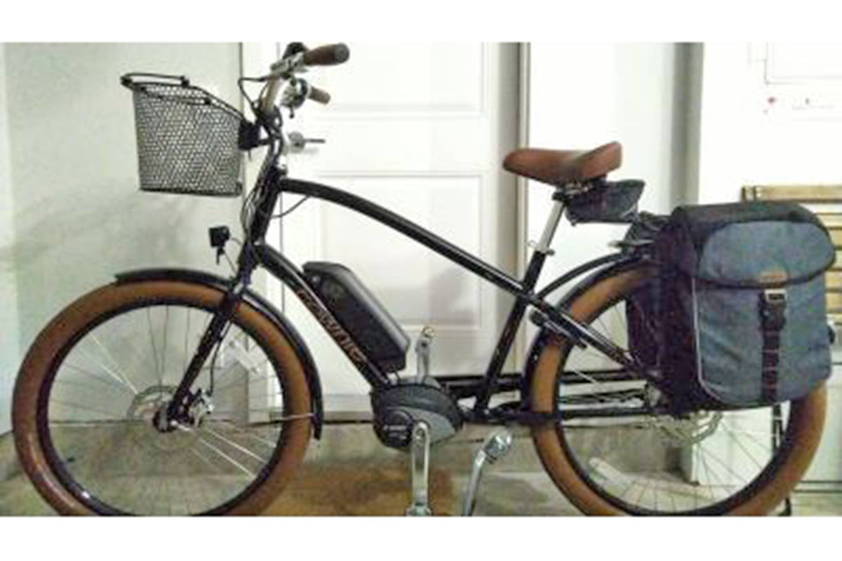 The pictured Townie GO E-Bike was stolen during a break and enter on May 15th in the Willoughby area. The bike is black with brown tires and seat, a metal basket and blue and black saddle bags. (Special to Langley Advance Times)