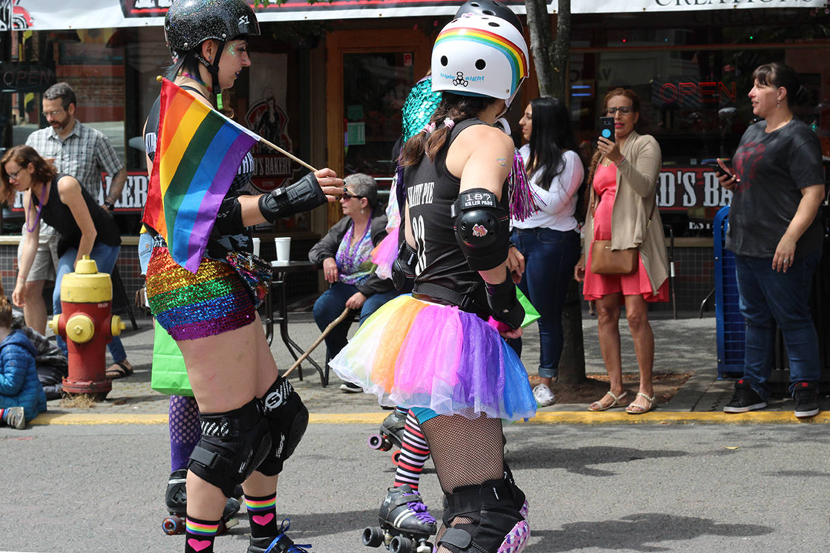 Roller derby athletes skate in the most recent Nanaimo Pride Parade in 2019. (News Bulletin file photo)