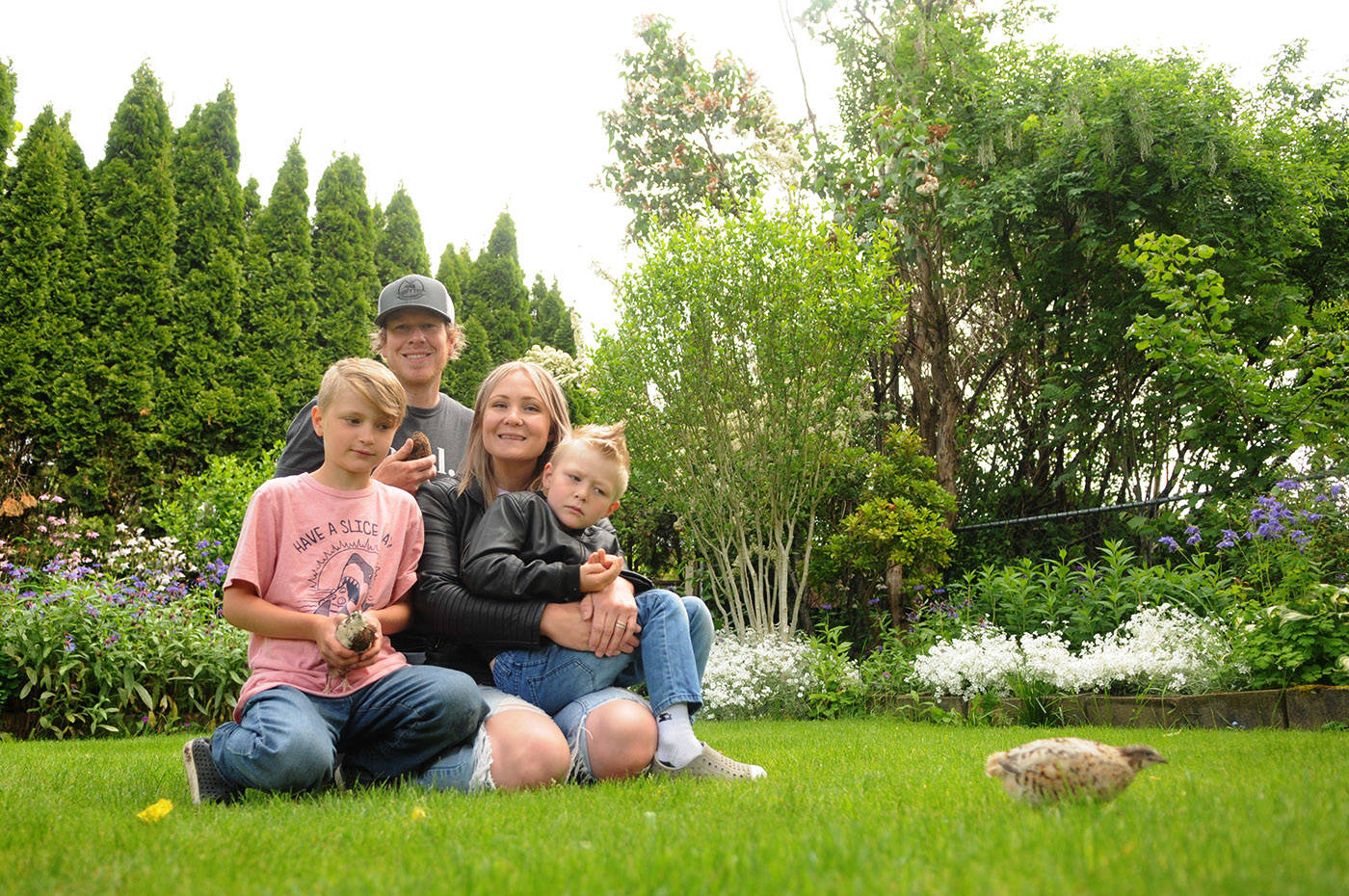 The Meredith family (Nick, Nicole, 10-year-old Lukas and eight-year-old Bowen) pose with three of their pet quail in their backyard in Chilliwack on Friday, May 28, 2021. The family was ordered to move their backyard quail or face a fine. (Jenna Hauck/ Chilliwack Progress)