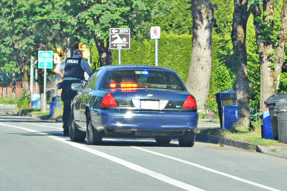 Police stopped a motorist in Langley Tuesday, June 1. The local RCMP has issued a warning for drivers after stopping a person on Sunday for travelling well over the limit. (Heather Colpitts/Langley Advance Times)