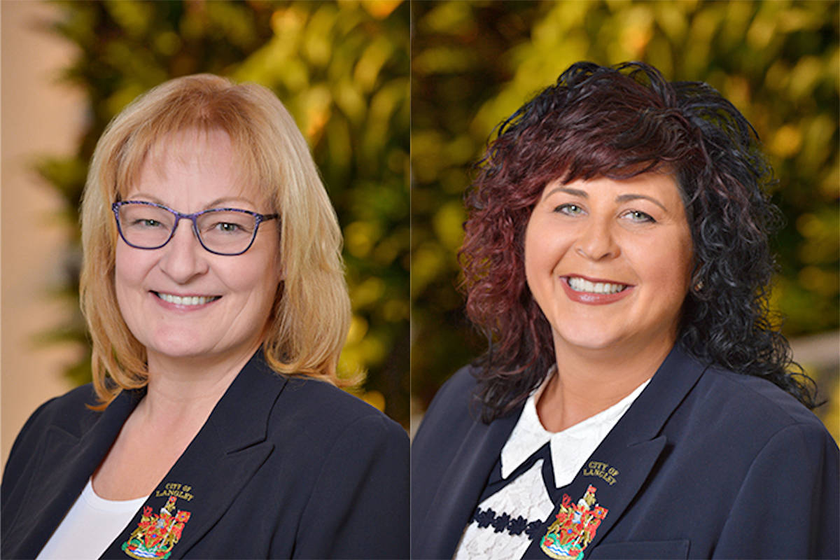 Coun. Teri James (left) told Mayor Val van den Broek (right) that the RCMP could not explain why there were no women candidates short-listed for officer-in-charge of the Langley detachment. (File)