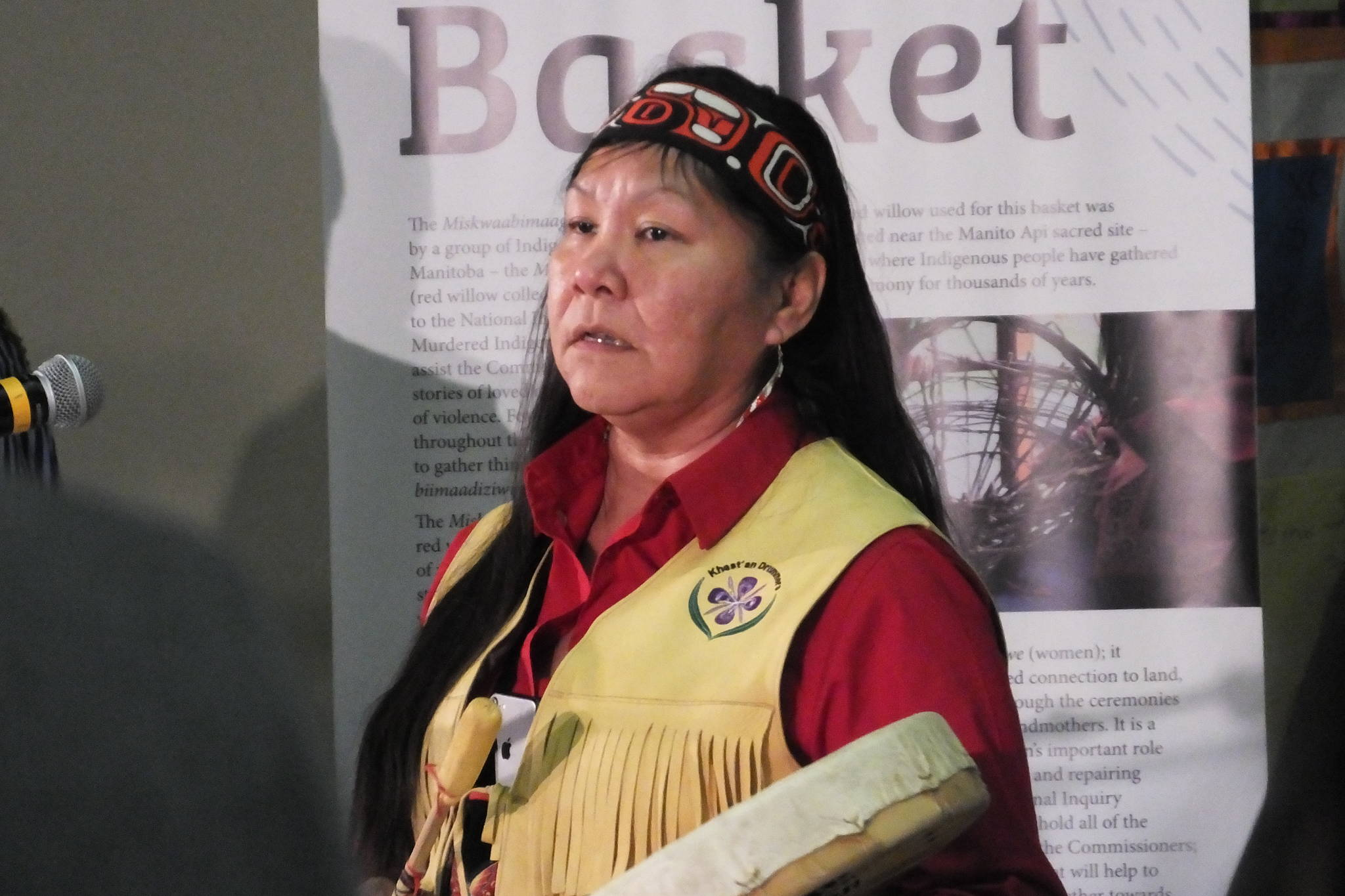 Brenda Wilson shares a song at the Inquiry into Missing and Murdered Indigenous Women and Girls hearings in Smithers. (Chris Gareau photo)