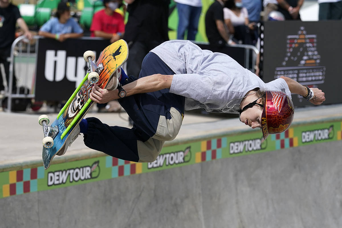 Andy Anderson competes in the Olympic qualifying skateboard event at Lauridsen Skatepark, Saturday, May 22, 2021, in Des Moines, Iowa. (AP Photo/Charlie Neibergall)