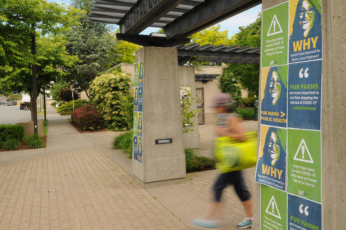 Posters line the entrance to Central Community Park in Chilliwack on Thursday, June 3, 2021. (Jenna Hauck/ Chilliwack Progress)