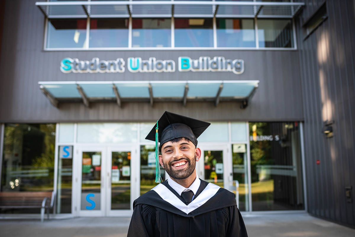 2021 Grads will receive a celebration box before the ceremony. You can arrange other grad gifts at ufv.ca/convocation/alumni-association. Pictured: Paul Jakhu, Student Speaker, College of Arts -Social Sciences, UFV Convocation 2021.