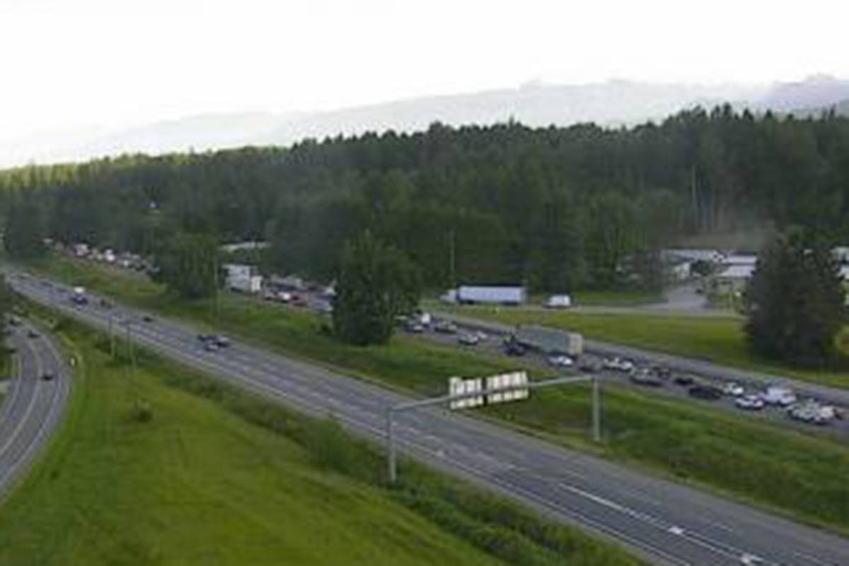 Highway 1 at 264th Street in Langley, looking west at 7 a.m. on Friday, June 4, 2021. (Drive BC)