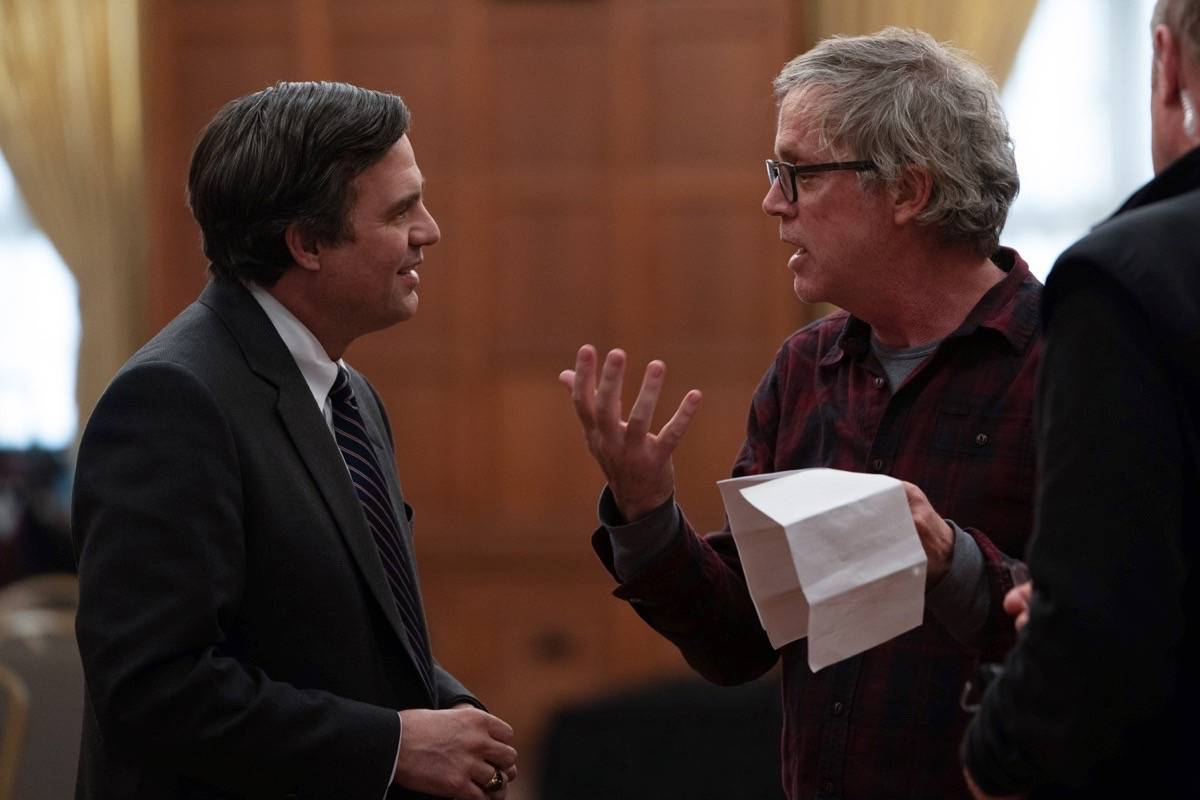 """Mark Ruffalo, left, and director Todd Haynes work on the set of the 2019 film """"Dark Waters."""" Ruffalo has expressed his support for old-growth logging protesters on Vancouver Island. (Courtesy Mary Cybulski/Focus Features)"""