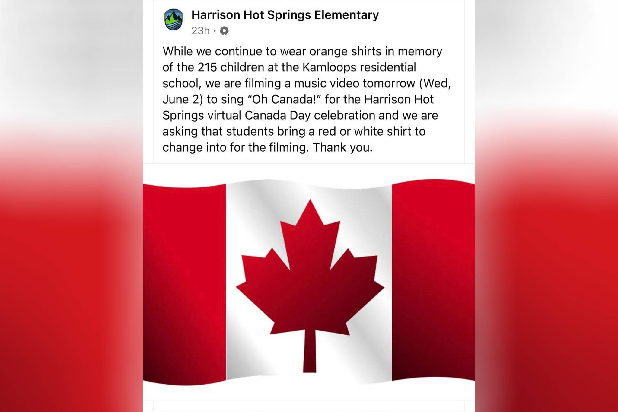 A deleted June 1 post of Harrison Hot Springs Elementary's plans to film an 'O Canada' music video for the village's virtual Canada Day celebration. School officials have since apologized and canceled the event. (Facebook/Harrison Hot Springs Elementary)