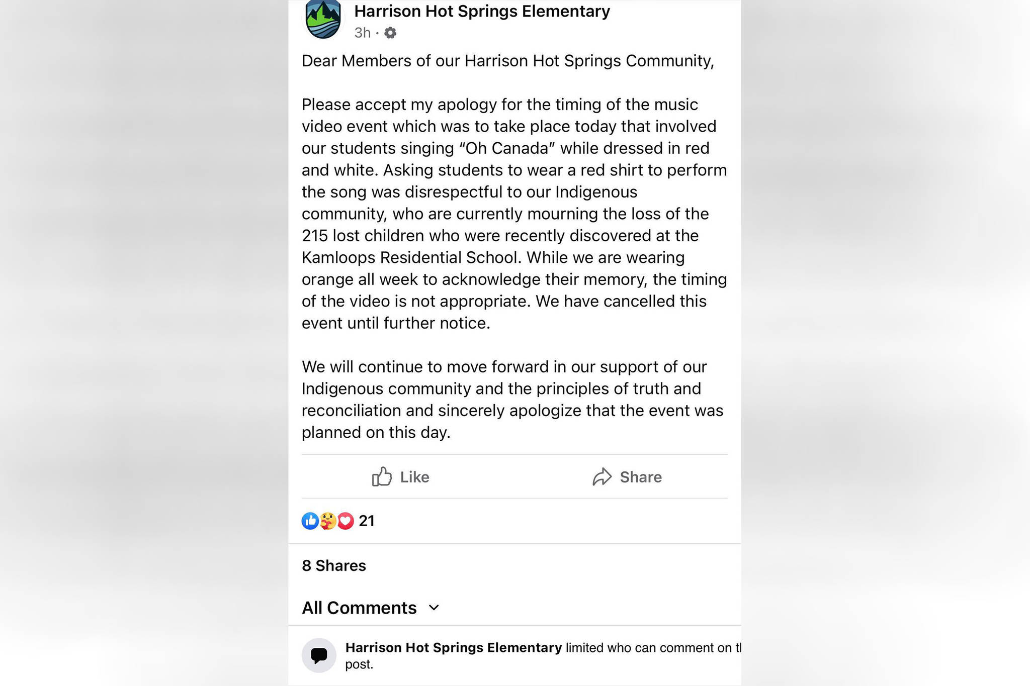 Harrison Hot Springs Elementary School issued this apology following the announcement of plans to film a music video of students wearing red and white, singing 'O Canada' for the village's upcoming virtual Canada Day celebration. The filming has since been canceled until further notice. (Facebook/Harrison Hot Springs Elementary