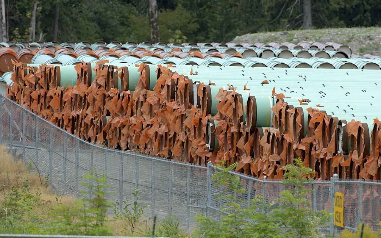 Pipes for the Trans Mountain pipeline project are seen at a storage facility near Hope, B.C., on September 1, 2020. THE CANADIAN PRESS/Jonathan Hayward