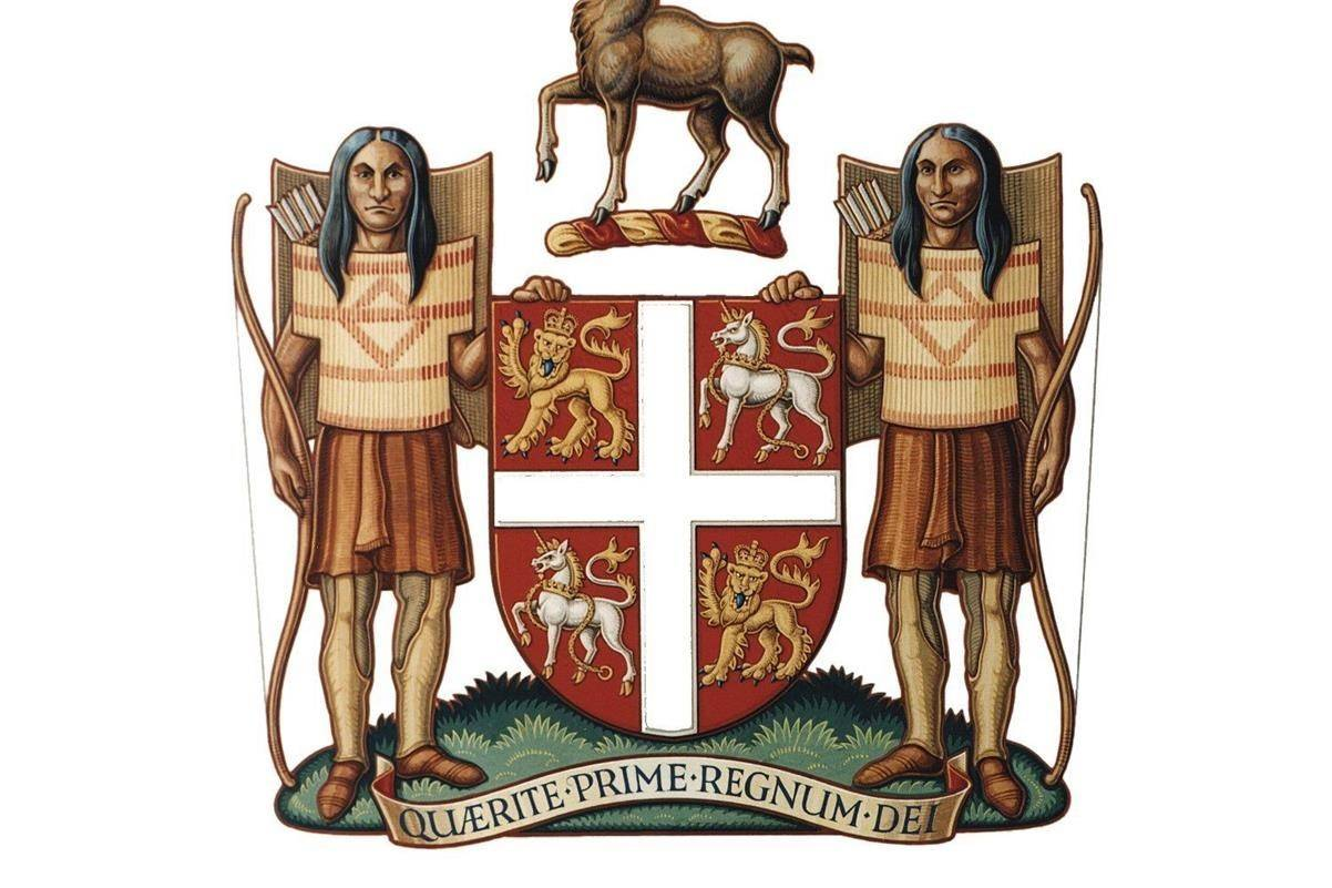 """The Newfoundland and Labrador coat of arms is shown in this undated handout image. The Newfoundland and Labrador government has formally decided to change the province's 400-year-old coat of arms, which includes a description that refers to Indigenous people as """"savages."""" THE CANADIAN PRESS/HO - Government of Newfoundland and Labrador *MANDATORY CREDIT*"""