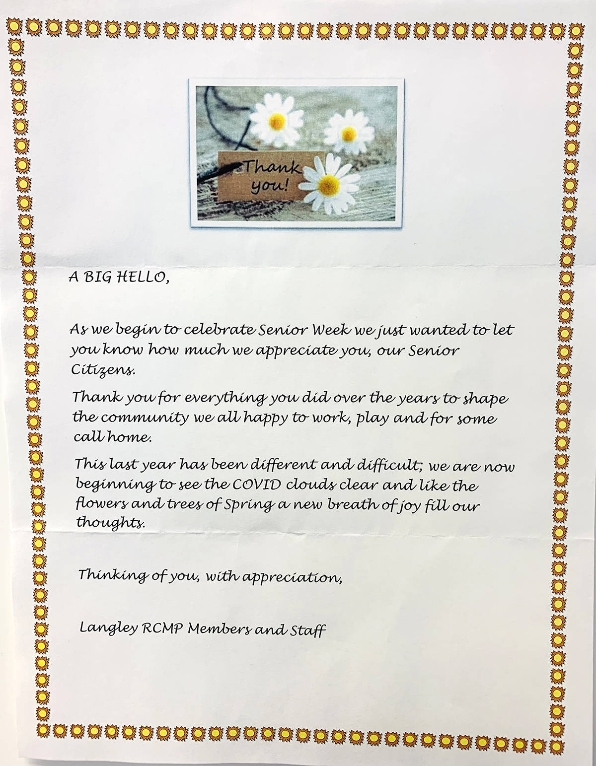 Langley RCMP sent a note to residents of Chartwell Langley Gardens for Seniors Week. (Chartwell/Special to the Langley Advance Times)