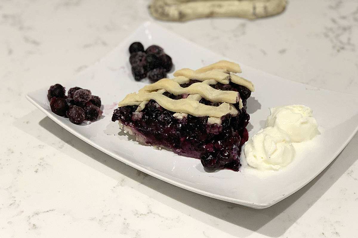 Dale Cull has partnered with Langley's Maritime Seafoods to bake and sell Father's Day pies to benefit cancer research. She's baking apple, cherry, and blueberry (above). (Special to Langley Advance Times)