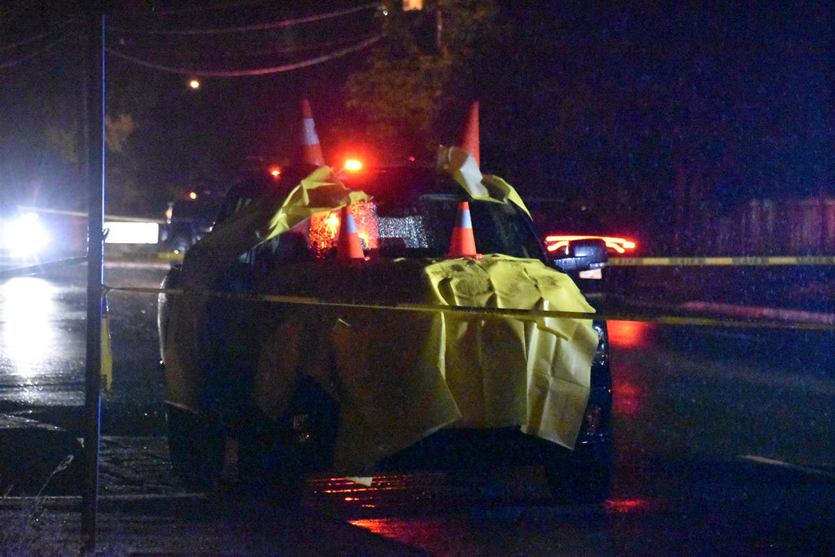 A pedestrian died after being struck be a vehicle Friday night (June 4) at Clearbrook Road and Coral Avenue in Abbotsford. (Curtis Kreklau/South Fraser News Services)