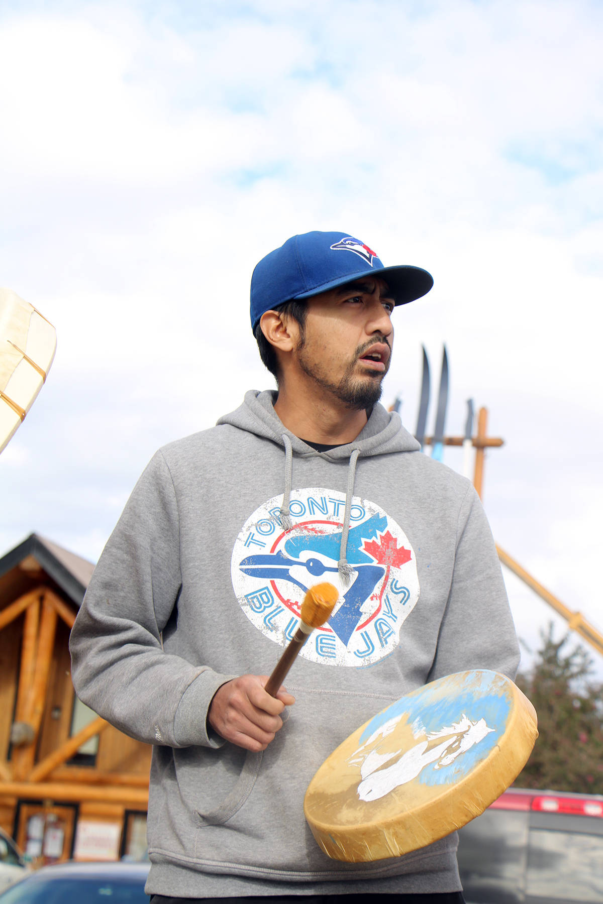 Joseph Archie, Canim Lake Band's cultural enrichment worker, was touched by how many people answered his call to stand in solidarity with the convoy heading to Kamloops. (Patrick Davies photo - 100 Mile Free Press)