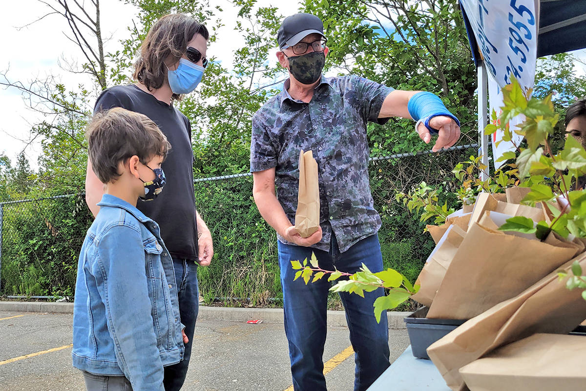 Tako van Popta (R) points out some of the 500 free seedlings that he and Langley Environmental Partners Society (LEPS) gave away in about 15 minutes on Saturday, June 5 in the parking lot of the Langley Home Depot. (Dan Ferguson/Langley Advance Times)