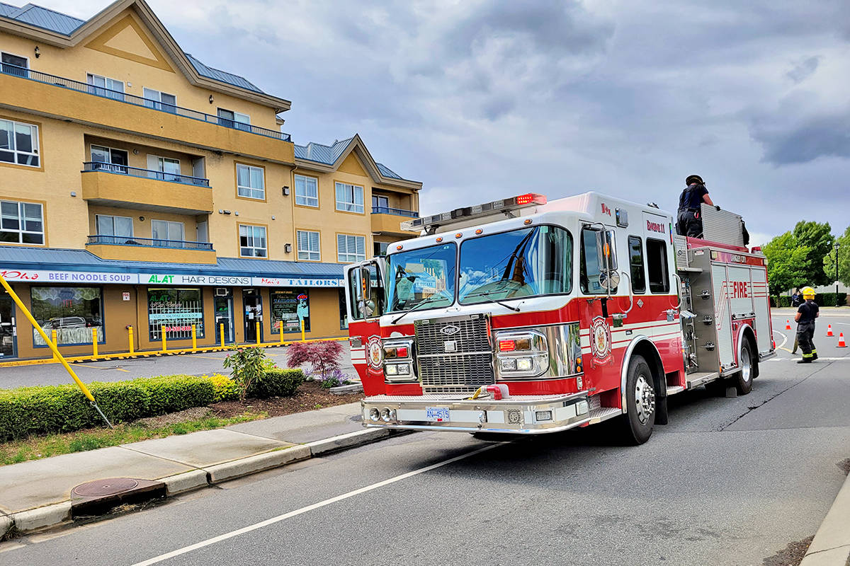 Multiple fire crews responded to a fire in a multiple-unit residential/commercial building in the 5500 block of 203rd Street in Langley City Saturday June 5. (Dan Ferguson/Langley Advance Times)