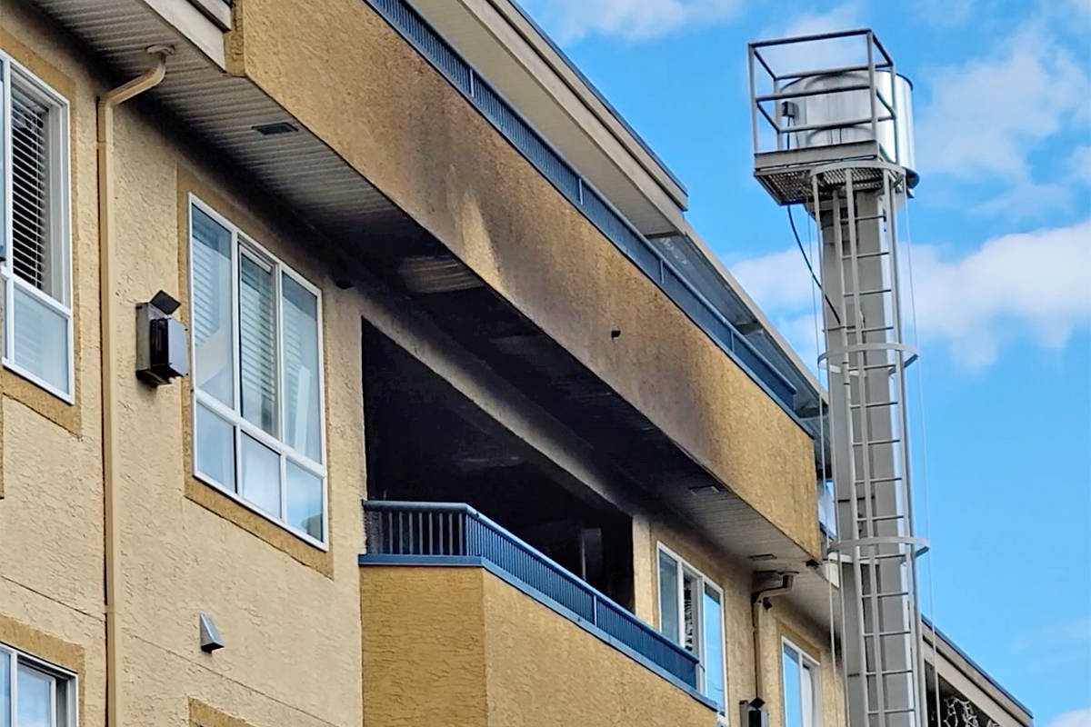 A third-storey residential suite was damaged by a fire in a multiple-unit residential/commercial building in the 5500-block of 203rd Street in Langley City Saturday June 5. (Dan Ferguson/Langley Advance Times)