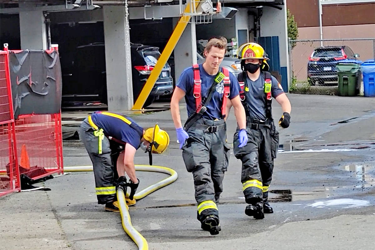 Multiple fire crews responded to a fire in a multiple-unit residential/commercial building in the 5500-block of 203rd Street in Langley City Saturday June 5. (Dan Ferguson/Langley Advance Times)