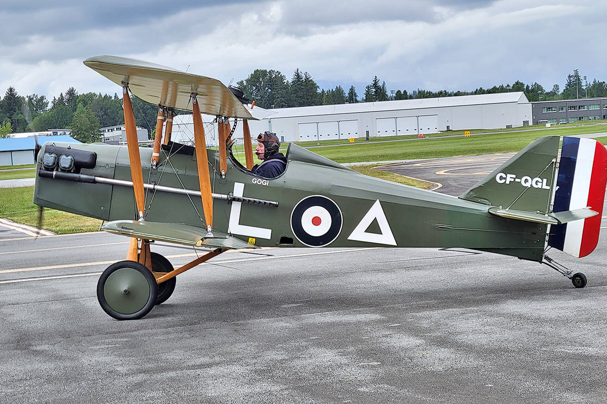 Al French flew the Langley Museum of Flight SE5A to celebrate the 100th birthday of D-Day pilot Jack Logan. (Dan Ferguson/Langley Advance Times)