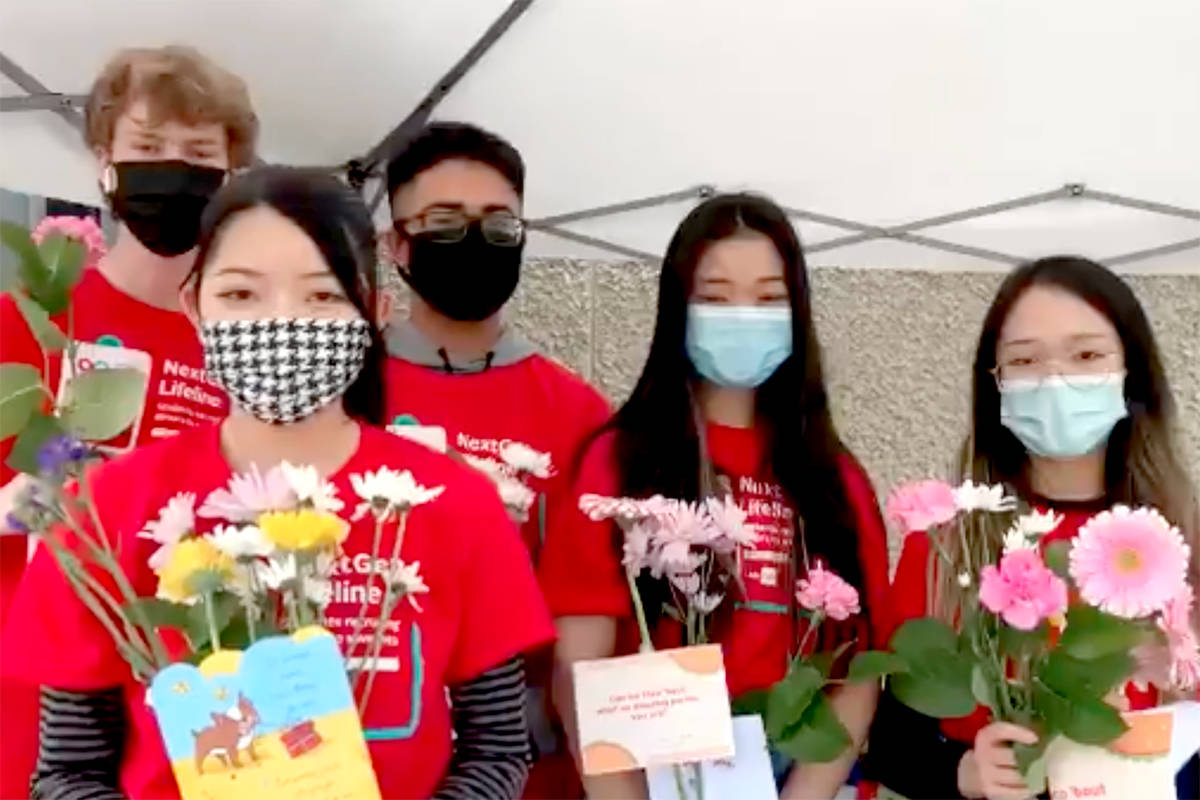 Aldergrove Community Secondary's Blood club donated flowers and cards to staff and volunteers. (Screenshot)