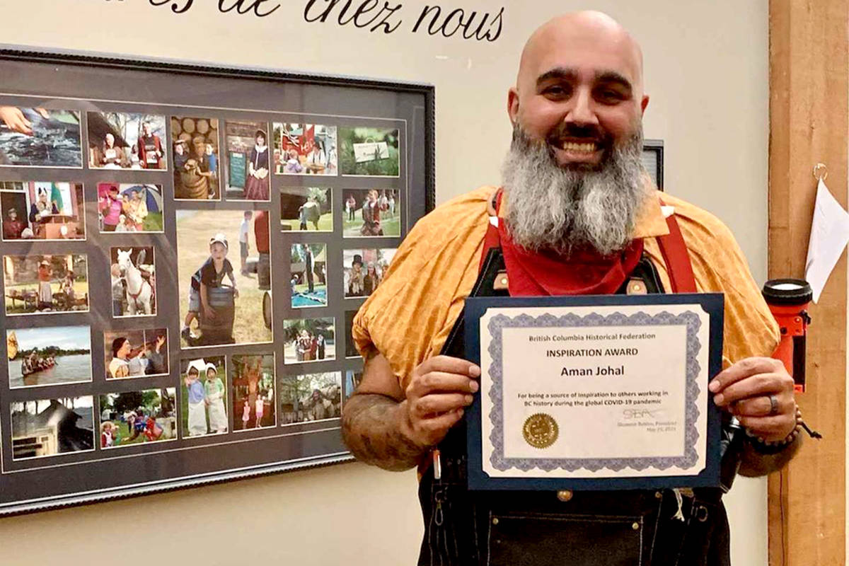 Aman Johal interpreter at the National Historic Site in Fort Langley earned an Inspiration Award for his work. (Special to The Star)