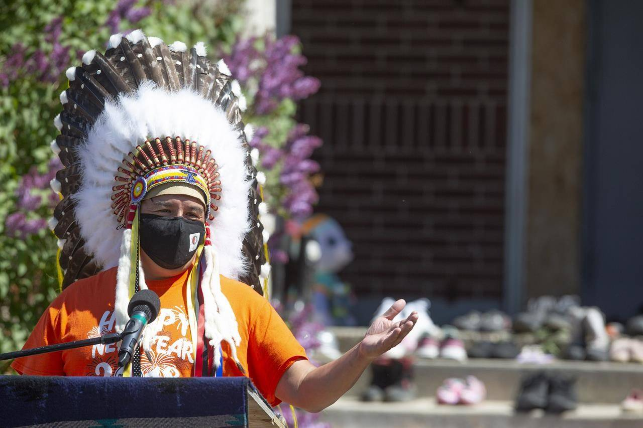 FSIN Chief Bobby Cameron speaks during a press conference and prayer vigil at the former Muscowequan Indian Residential School in Saskatchewan at Muskowekwan First Nation, Sask., on Tuesday, June 1, 2021. THE CANADIAN PRESS/Kayle Neis