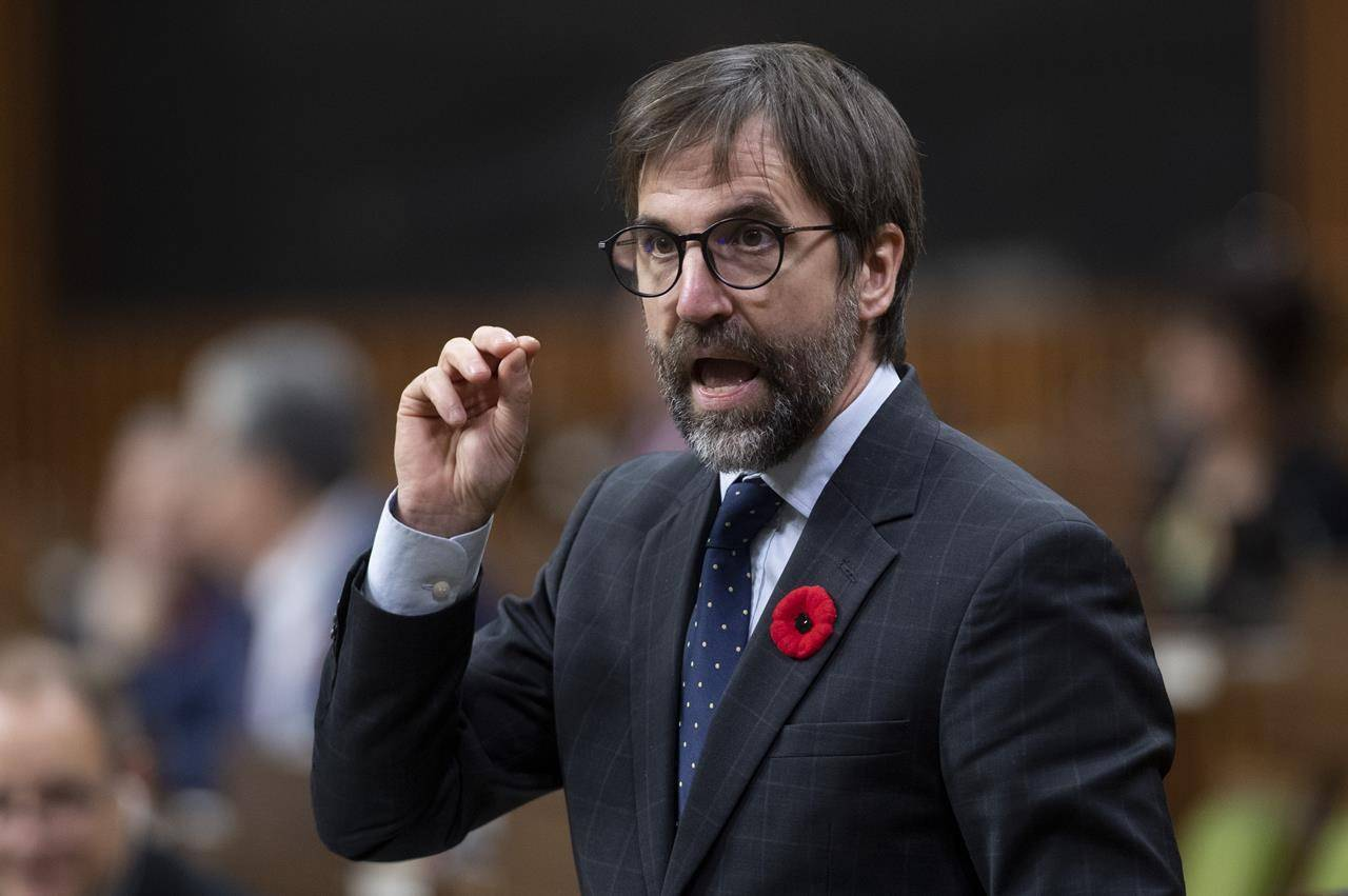 Minister of Canadian Heritage Steven Guilbeault speaks during question period in the House of Commons in Ottawa, Tuesday, November 3, 2020. THE CANADIAN PRESS/Adrian Wyld