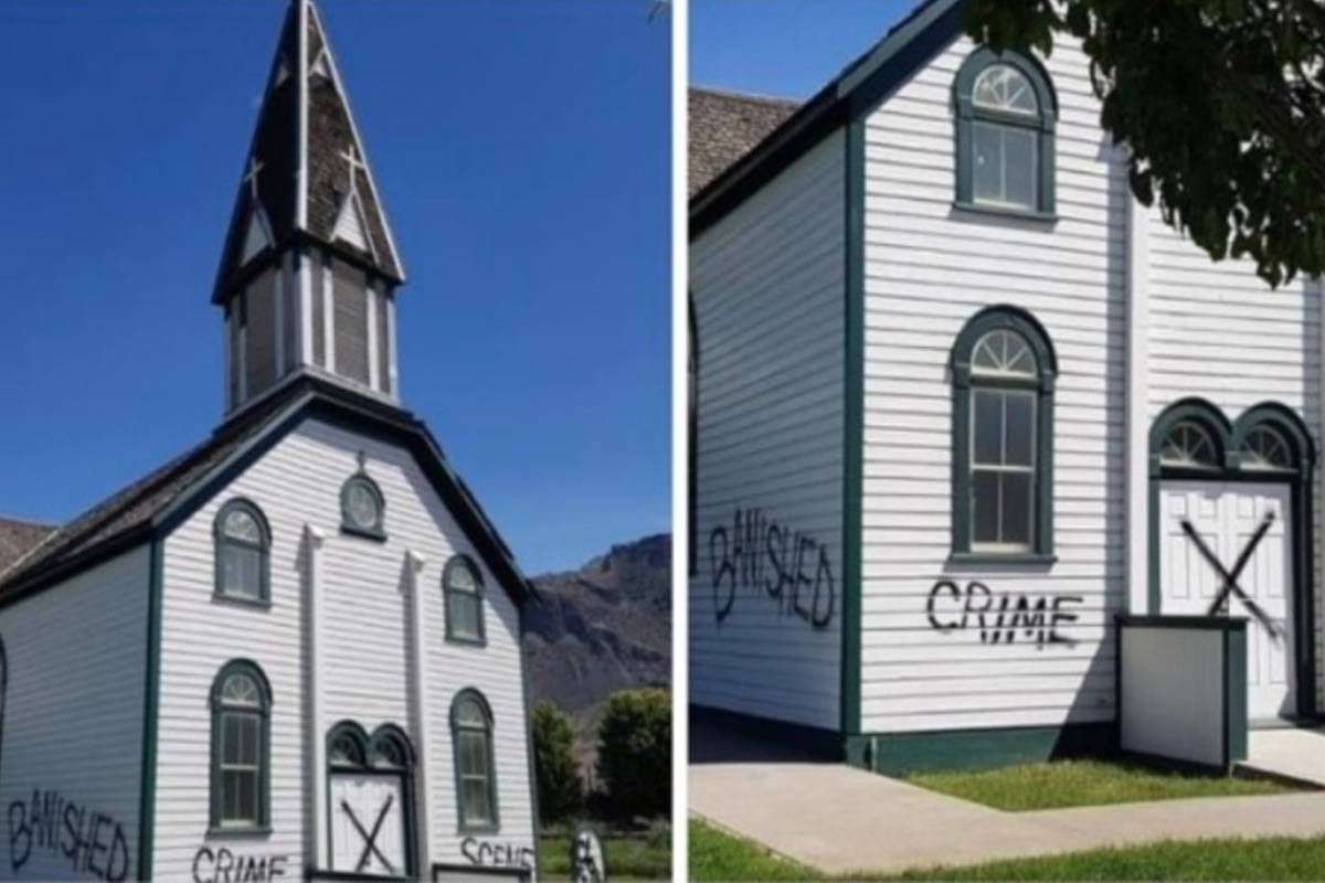Somebody scrawled graffiti on the outside walls and door of the heritage St. Joseph's Catholic Church on or around May 31. Photograph By TWITTER/SECWEPEMCC SECWEPEMC CROW