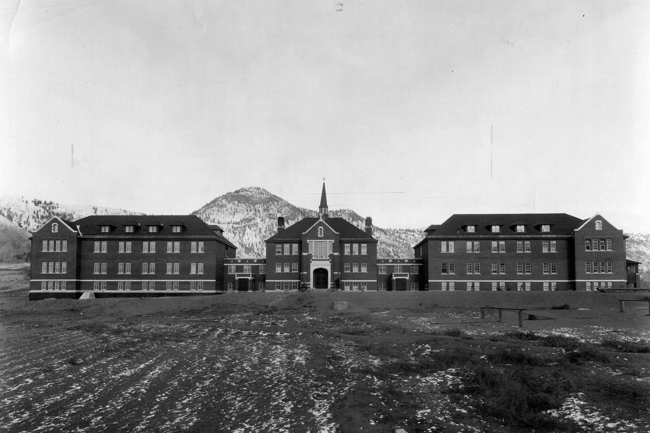 The Kamloops Indian Residential School in Kamloops, B.C., is shown in this 1930 handout photo. Sixty-six per cent of respondents to an online survey conducted by Leger and the Association for Canadian Studies say the church is responsible for tragedies at residential schools, while 34 per sent say the federal government should be blamed. THE CANADIAN PRESS/HO - Deschatelets-NDC Archives