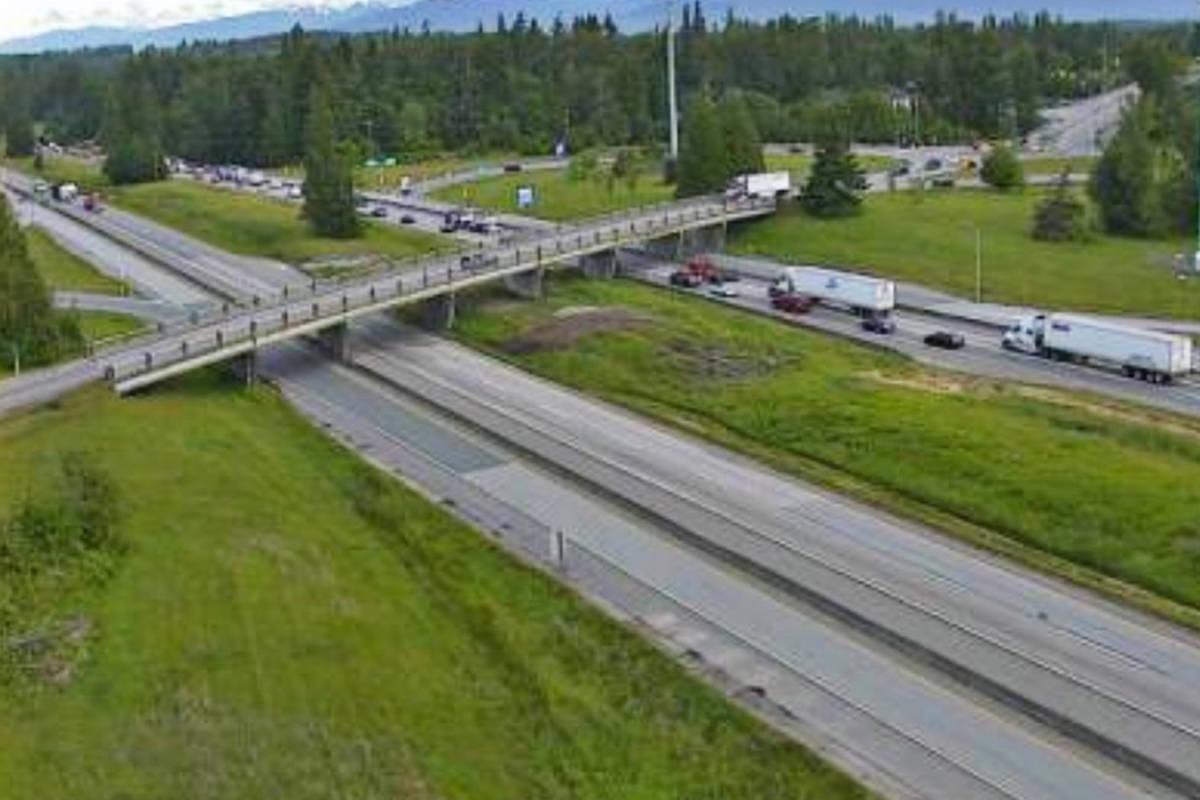A crash near Glover Road had eastbound traffic blocked on Highway 1. (DriveBC webcam)