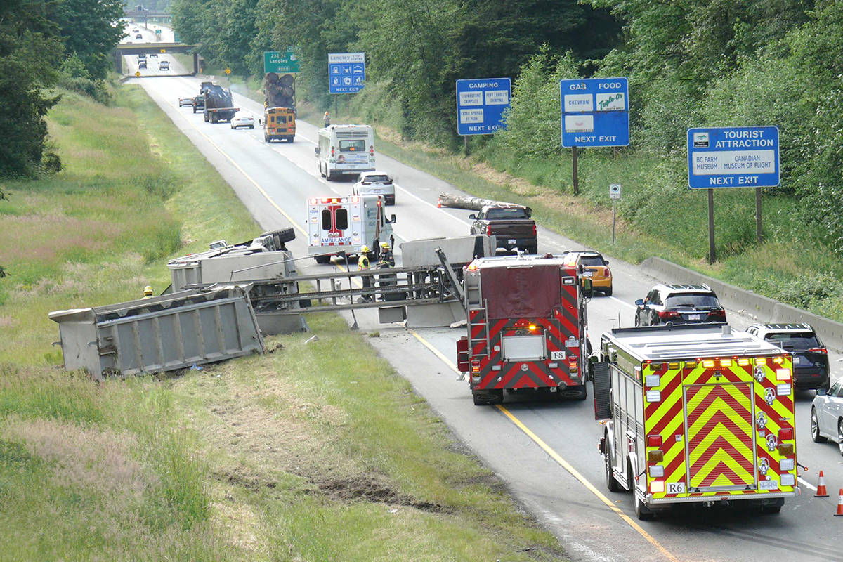 Emergency crews attended a crash scene on the Trans Canada Highway in Langley. (Dan Ferguson/Langley Advance Times)