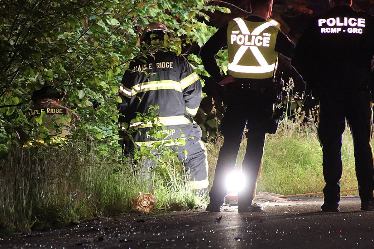 One vehicle and its driver had to be retrieved after going down a 75-foot embankment following a three-car crash in the Ruskin neighbourhood of Maple Ridge on Monday, June 7, 2021 a little before midnight. (Shane MacKichan/Special to The News)