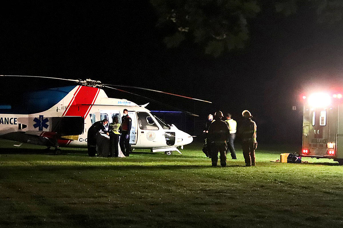 One man was airlifted to hospital in what's believed to be serious condition after a three-car crash in the Ruskin neighbourhood of Maple Ridge on Monday, June 7, 2021 a little before midnight. (Shane MacKichan/Special to The News)