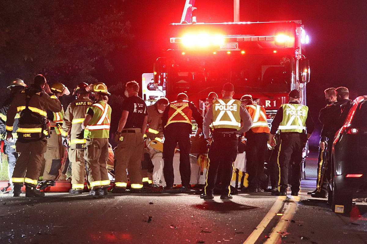 Emergency crews had Lougheed Highway shut down for several hours after a serious three-car crash in the Ruskin neighbourhood of Maple Ridge on Monday, June 7, 2021 a little before midnight. (Shane MacKichan/Special to The News)