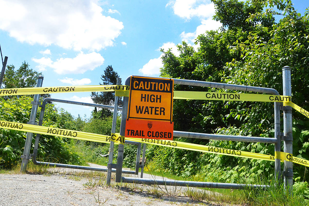 Some trails and park areas along the Fraser River in Langley are closed this week as the Fraser River rises. (Matthew Claxton/Langley Advance Times)