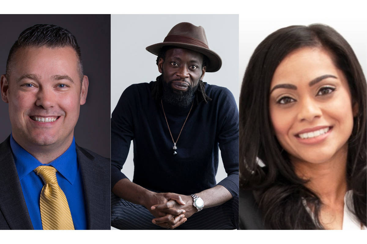 Rob Fai (left), Ransford Brempong (middle) and Shantelle Chand make up the new on-air broadcast team for the Fraser Valley Bandits. (Submitted)