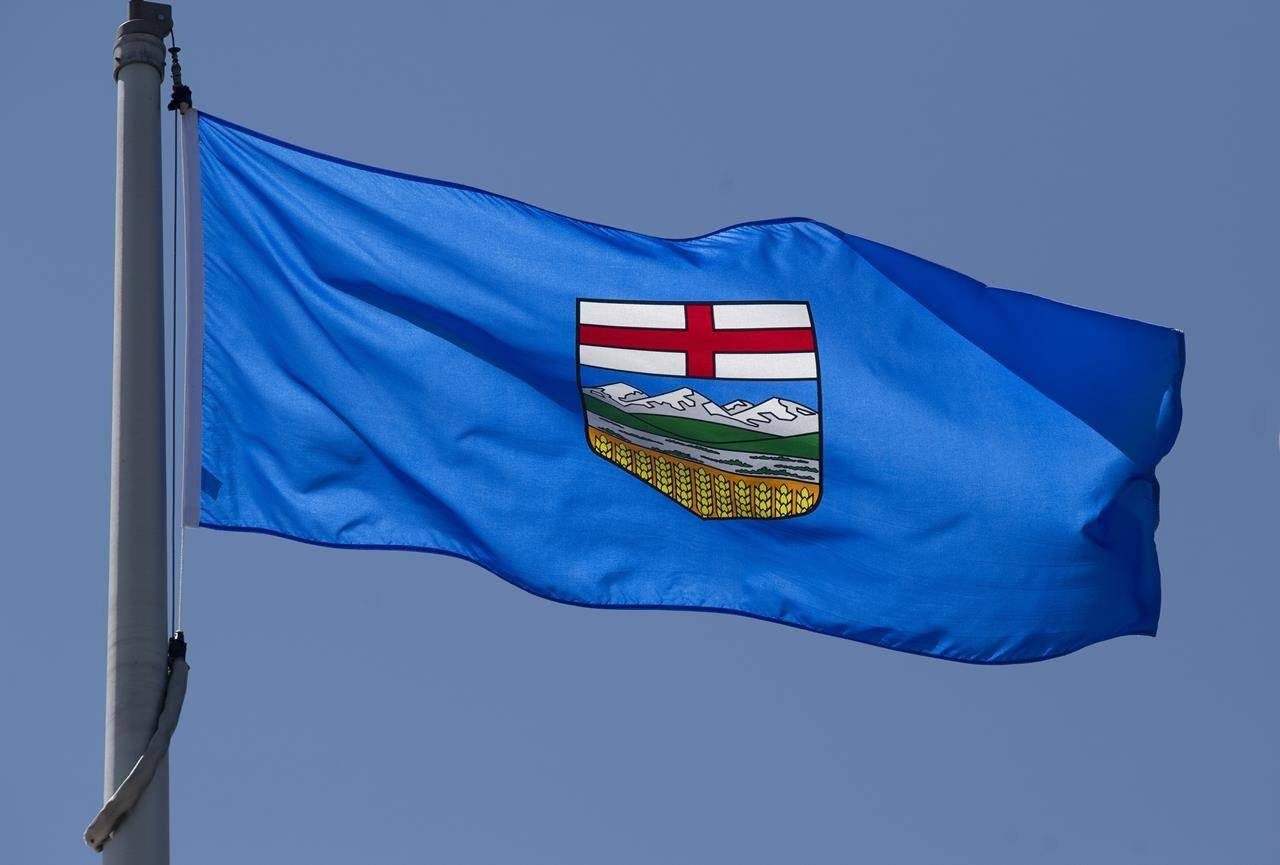 Alberta's provincial flag flies in Ottawa on Monday, July 6, 2020. A $600 fine was issued after a gender-reveal party led to a wildfire in Alberta. THE CANADIAN PRESS/Adrian Wyld