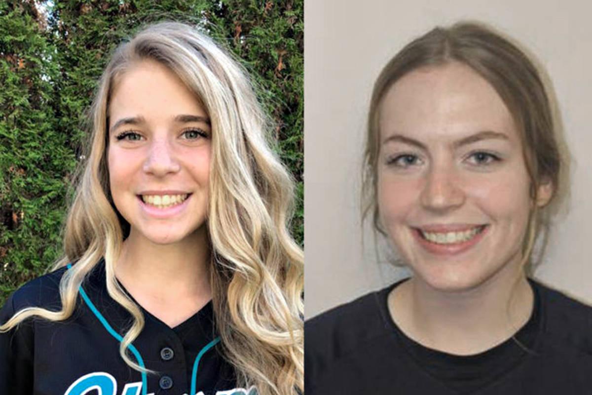Langley's Abby McGlynn and Jasmine Polajzar have committed to play softball at Simon Fraser University next season. (Contributed photos)