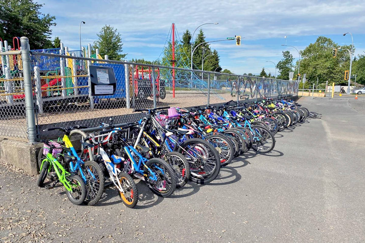 Bike racks at Langley's James Kennedy Elementary (JKE) school filled up with two-wheelers during Bike to School Week. (Special to Langley Advance Times)