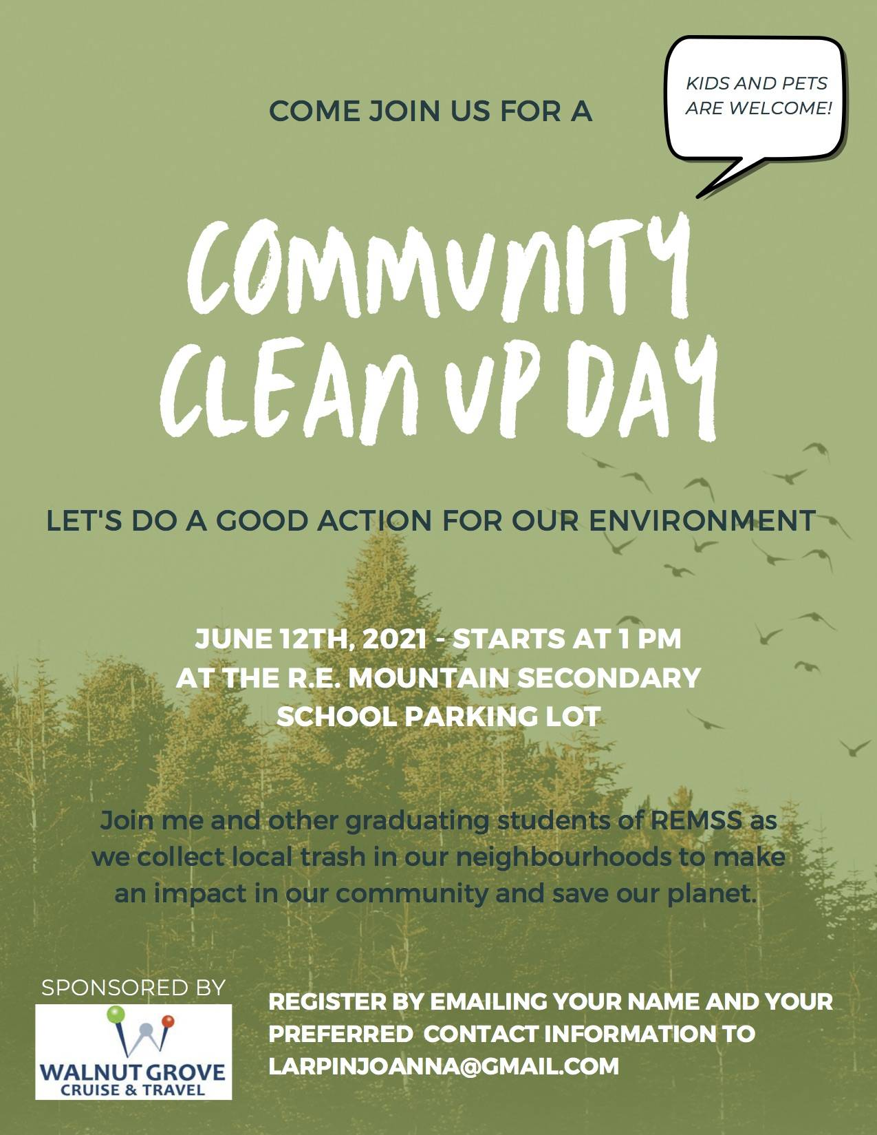 A Grade 12 R.E. Mountain Secondary School student has organized a community clean-up for June 12, 2021. (Special to Langley Advance Times)