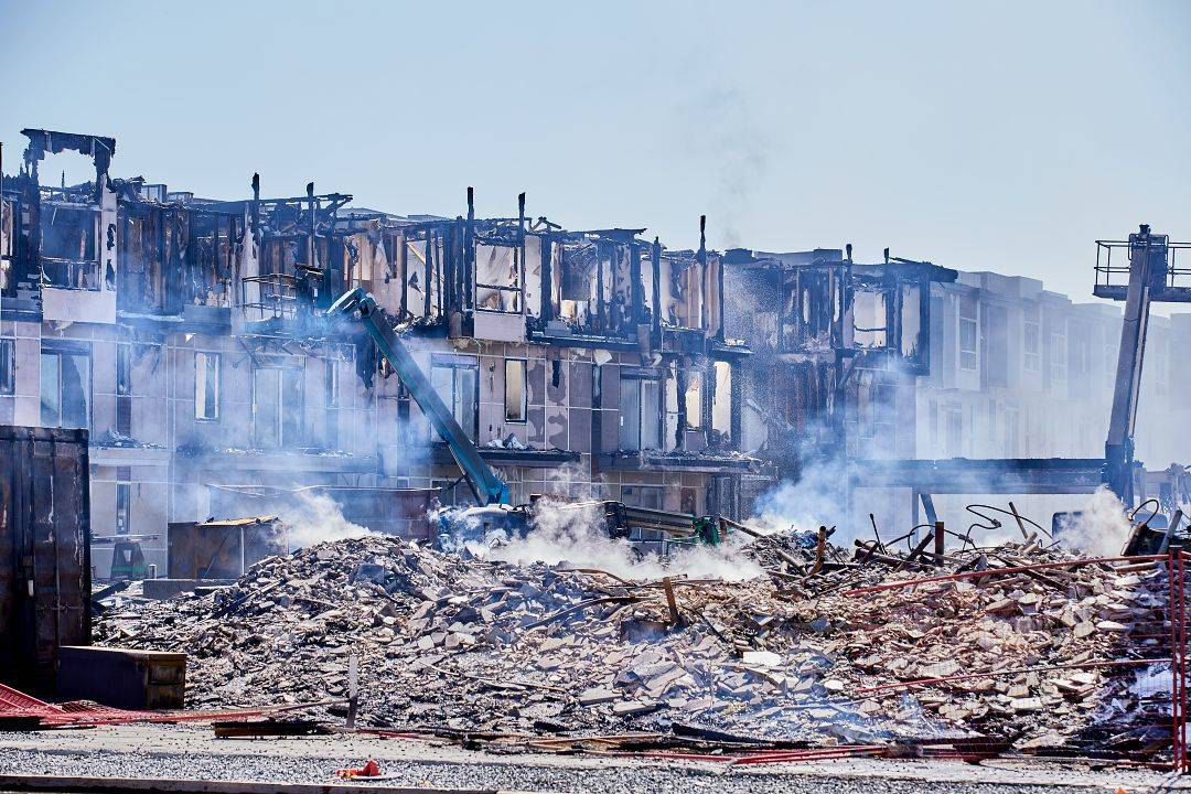 The rubble left behind at the construction site of the Alexander Square development. The Willoughby condo fire at 208th Street and 80th Avenue on April 19, 2021 was reported around 9:30 p.m. (Rob Wilton/Special to Langley Advance Times)
