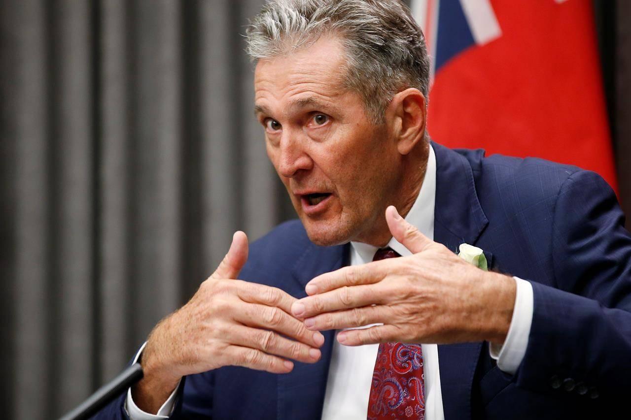 Manitoba Premier Brian Pallister speaks to media in Winnipeg, Wednesday, Oct. 7, 2020. THE CANADIAN PRESS/John Woods