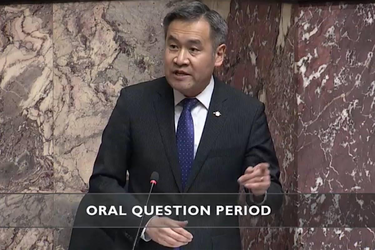 Vancouver-Langara MLA Michael Lee, B.C. Liberal transportation critic, speaks in the legislature, March 10, 2021. (Hansard TV)