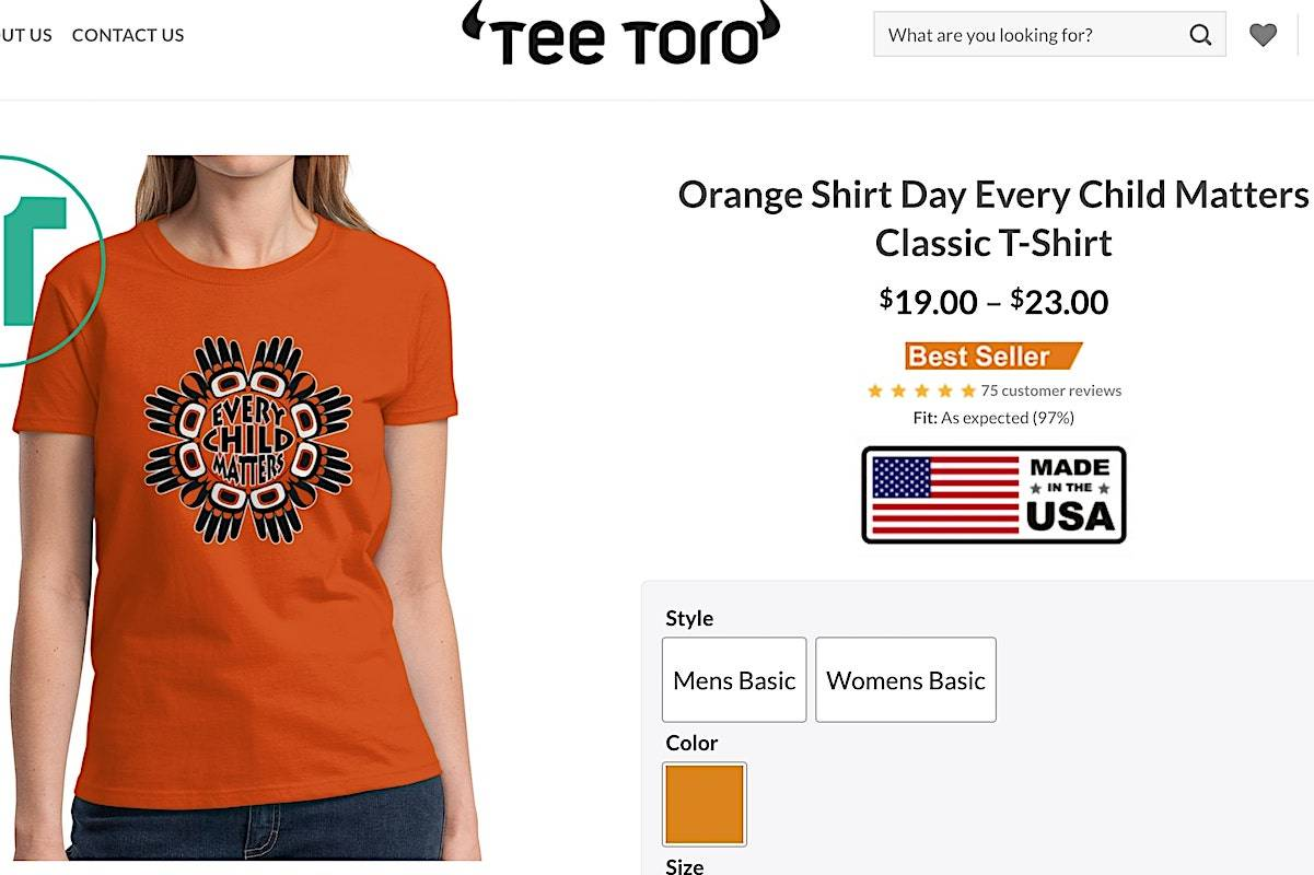 """The Better Business Bureau is warning consumers not to fall for an """"every child matters"""" orange shirt scam that is circulating from a Facebook advertisement. (Website/TeeToro)"""